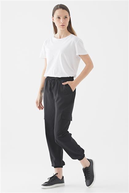 Beli Lastikli Kargo Pantolon-Siyah 119301-01