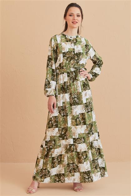 Yaprak Desenli Elbise-Haki 1017003-27