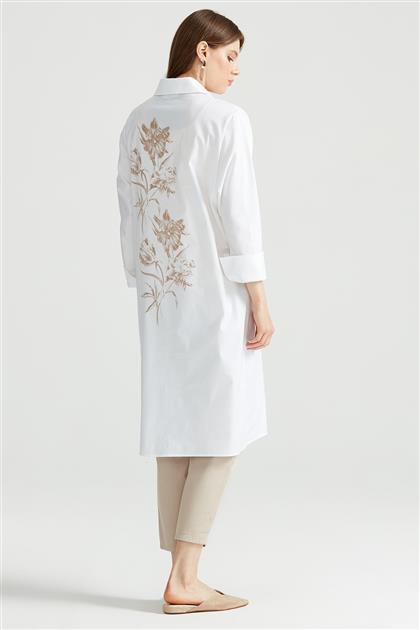 Sırtı Çiçek Baskılı Gömlek EKRU GML.1256.01