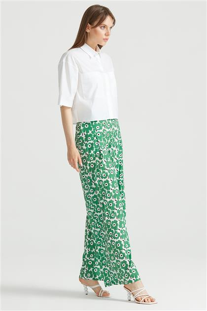 Çiçek Desenli Pantolon YEŞİL PNT.1285.01
