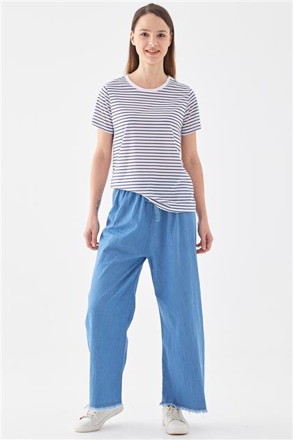 Beli Lastikli Kot Pantolon-Açık Mavi 1023001-15