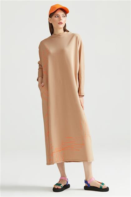 Baskılı Sweat Elbise LATTE ELB.1249.01