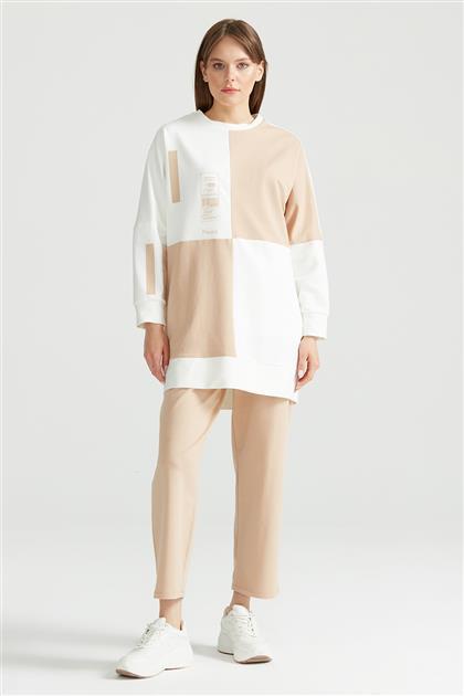 Çapraz Renk Bloklu Sweat Tunik LATTE TNK.1250.01