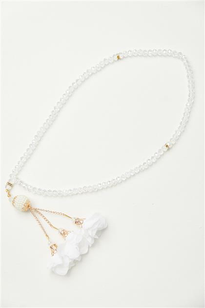 Çiçek Desen Tesbih-Beyaz 0027-02