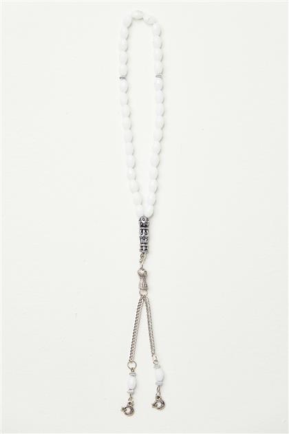 Lüx İşçilikli Kristal Tesbih-Beyaz 0040-02