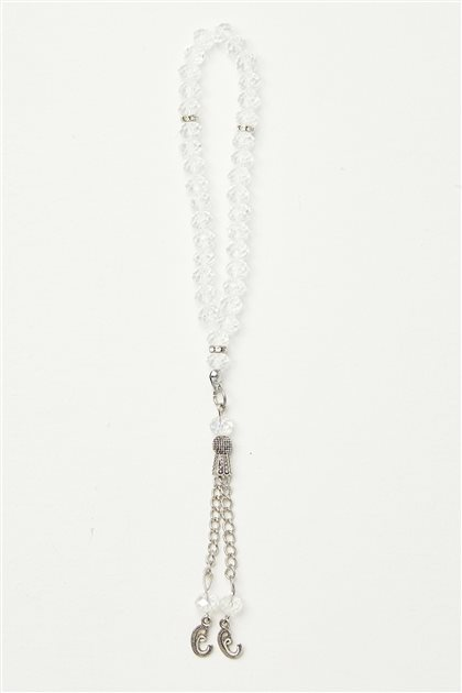 Lüx İşçilikli Kristal Tesbih-Beyaz 0041-02