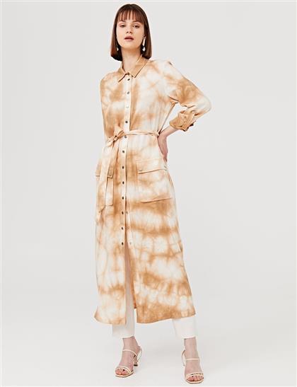 Kuşaklı Batik Desen Uzun Tunik Camel B21 21248A
