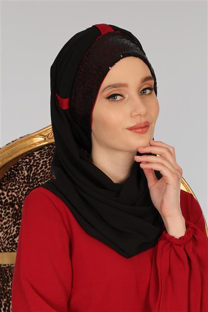 Payetli Penye Boneli Şifon Şal Siyah Kırmızı