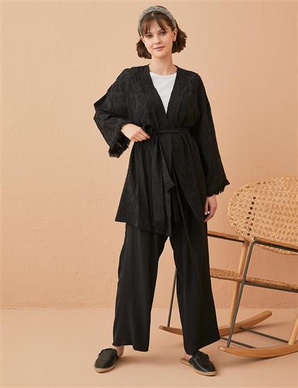 Püsküllü Jakarlı Kimono Siyah B21 13039