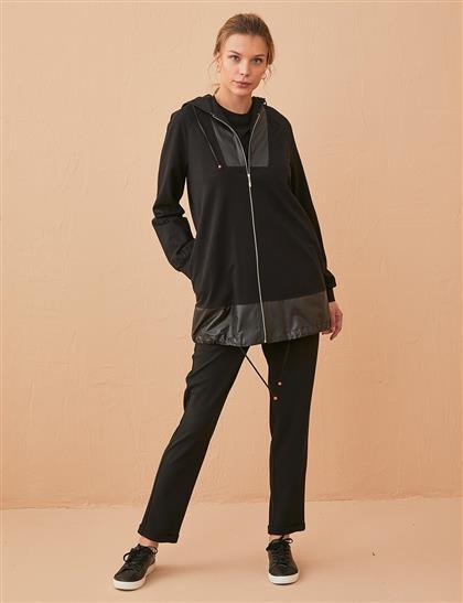 KYR Deri Detaylı Kapüşonlu Sweatshirt Siyah B21 73008
