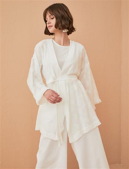 Püsküllü Jakarlı Kimono Beyaz B21 13039