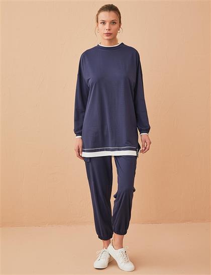 Katman Görünümlü Sweatshirt Lacivert B21 21370