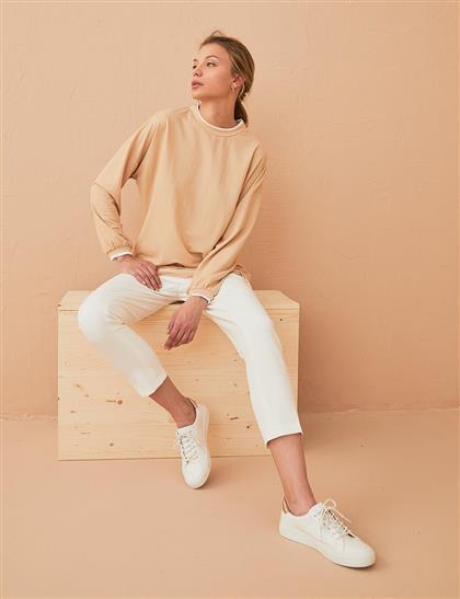Katman Görünümlü Sweatshirt Bej B21 21370