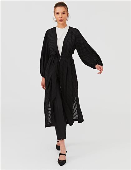 Yırtmaç Detaylı Jakarlı Kimono Siyah B21 25054