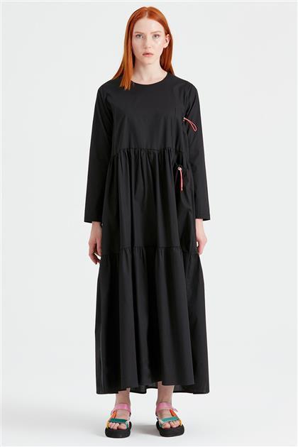 Bağcıklı Poplin Elbise SİYAH ELB.1293.01