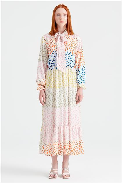 Puantiyeli Desenli Fularlı Elbise SARI ELB.1294.01