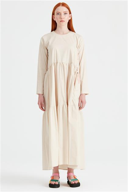 Bağcıklı Poplin Elbise BEJ ELB.1293.01