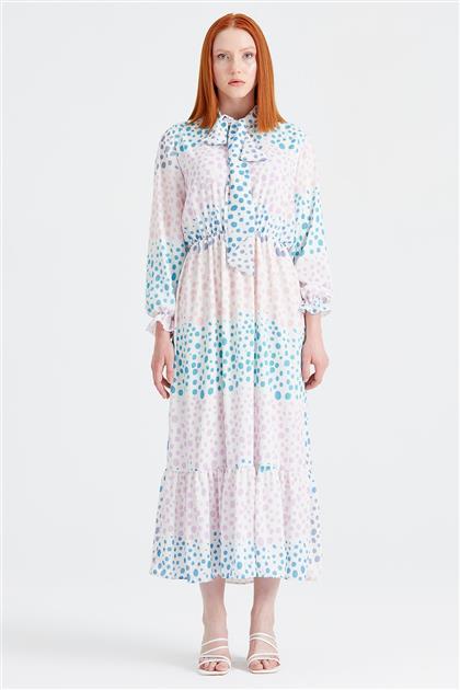Puantiyeli Desenli Fularlı Elbise LİLA ELB.1294.01