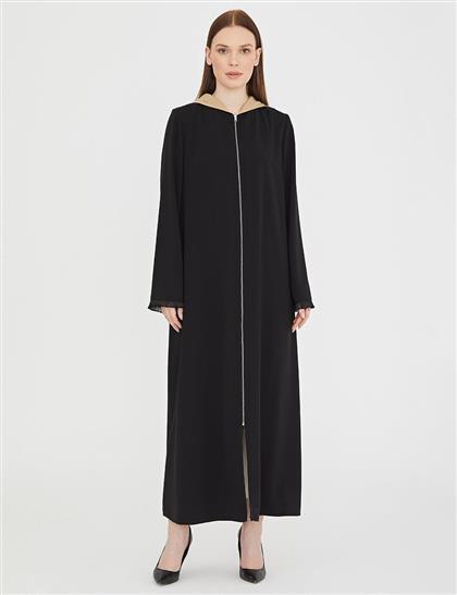 Kontrast Detaylı Uzun Giy-Çık / Ferace Siyah B21 25045