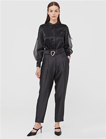 Şifon Detaylı Yakası İşlemeli Gömlek Siyah B21 10143
