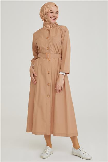 Armine Cepli Önü Düğmeli Elbise 21Y9253 Vizon