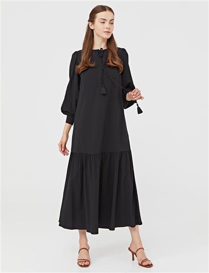 Parçalı Balon Kol Elbise Siyah A21 23036