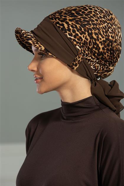 Şifon Kuşaklı Şapka Bone Leopar - Kahverengi