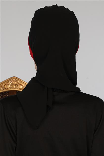 Çapraz Dikim Çift Renkli Fularlı Şifon Hazır Türban Siyah Kırmızı