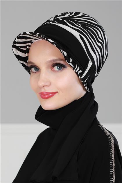 Şifon Kuşaklı Şapka Bone Zebra - Siyah