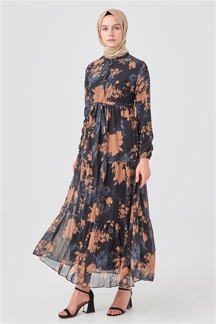 Çiçek Desenli Şifon Elbise-Siyah 1160823-01