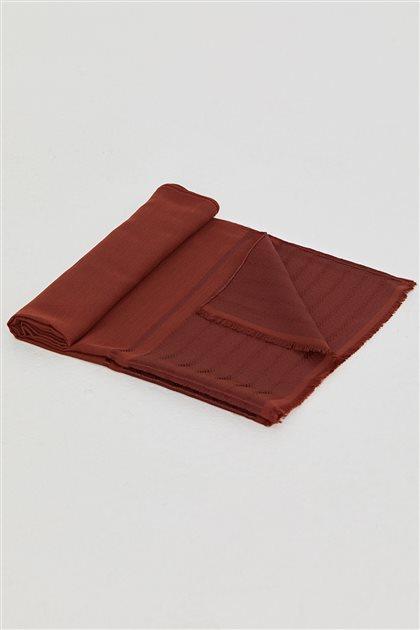 Bantlı Dokuma Düz Renk Şal-Kiremit SPR04-58