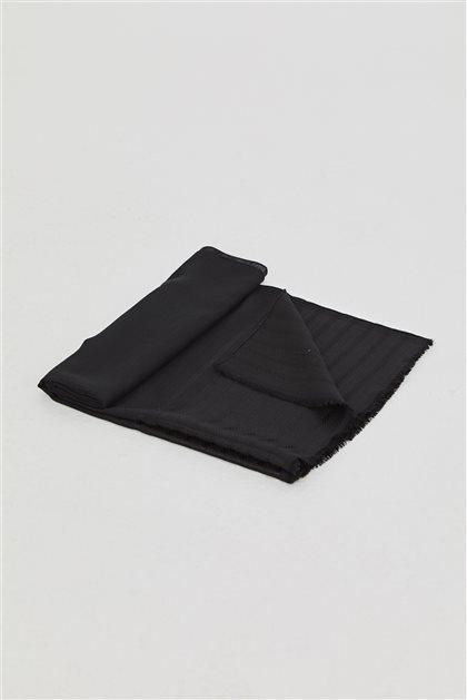 Bantlı Dokuma Düz Renk Şal-Siyah SPR04-01