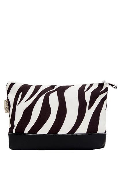 Zebra Desen Deri Detay El Çantası Büyük - Zebra - Siyah