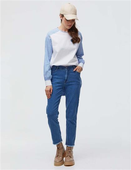 Paçası Püsküllü Denim Pantolon Mavi B21 19119