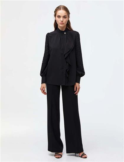 Hakim Yaka Volanlı Bluz Siyah A21 10005