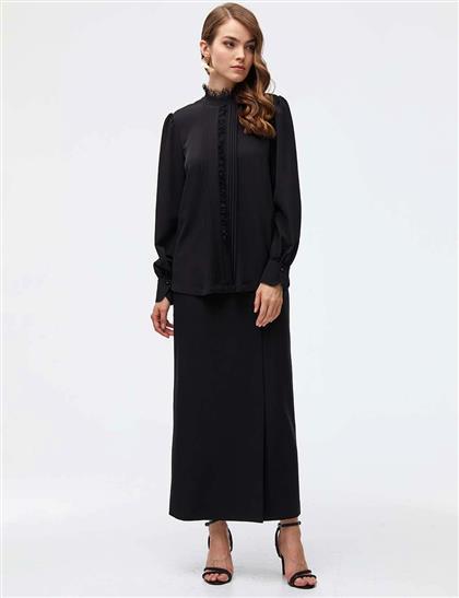 Nervürlü Dantelli Gömlek Siyah A21 10014