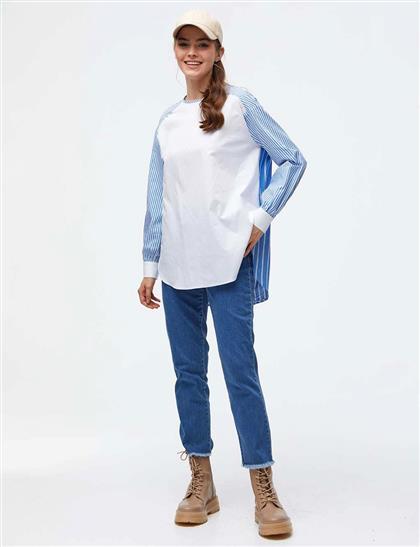 Sırtı Düğmeli Çizgili Bluz Beyaz A21 10006