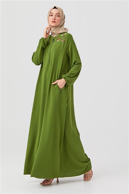 Yeşil Nakışlı Ön Fermuarlı Elbise