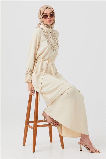 Taş Kol Ve Ön Kaneviçe İşlemeli Elbise