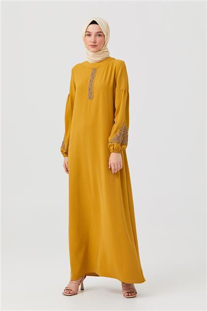 Hardal Nakışlı Düz Kesim Elbise