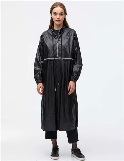 Şerit Detaylı Yarım Fermuarlı Tunik Siyah A21 21006
