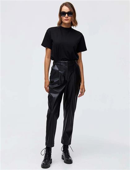 Pileli Suni Deri Pantolon Siyah A21 19053