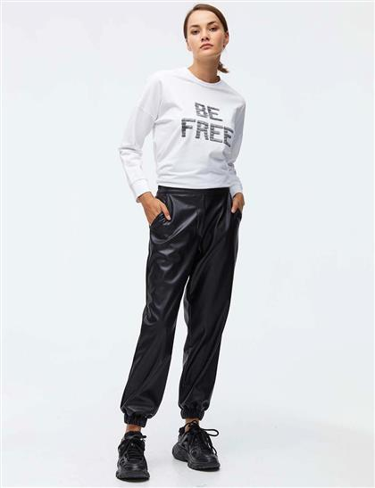 Suni Deri Jogger Pantolon Siyah