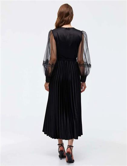 Kolları Tül Eteği Pliseli Elbise Siyah A21 23040