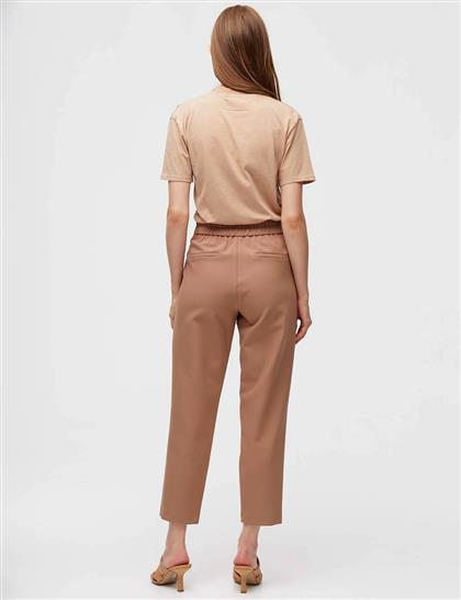 Çift Düğmeli Plili Pantolon Camel A21 19052