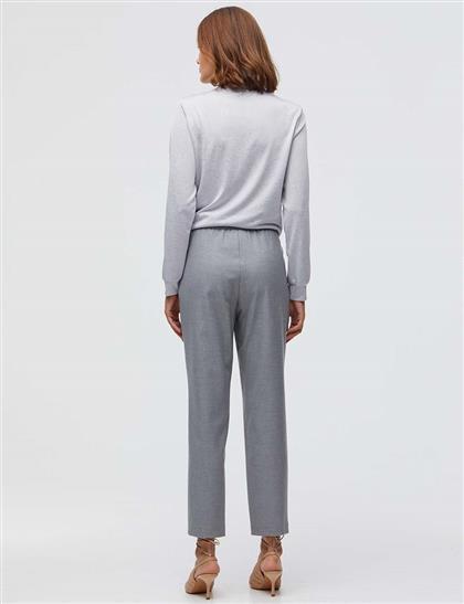Bağcıklı Pileli Pantolon Gri
