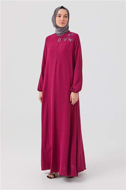 Fuşya Nakışlı Ön Fermuarlı Elbise