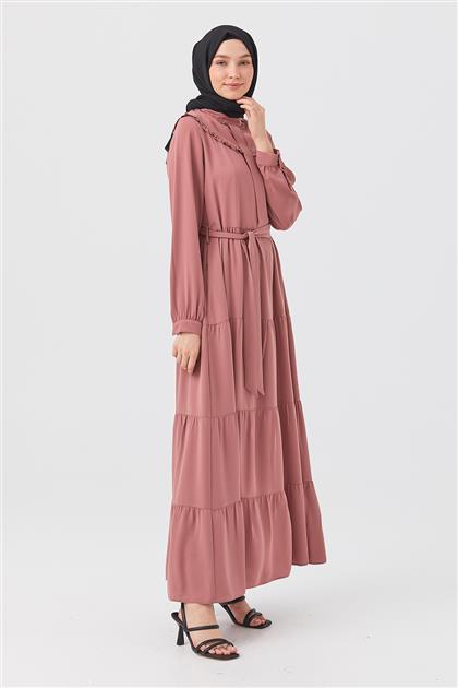 Gül Kurusu Vintage Yaka Büzgülü Elbise