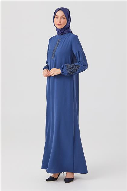İndigo Nakışlı Düz Kesim Elbise