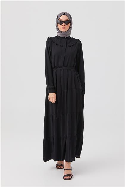 Siyah Vintage Yaka Büzgülü Elbise